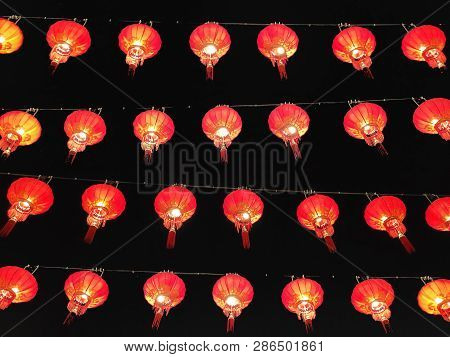 3D Rendering Of Red Lamp Flying In The Sky