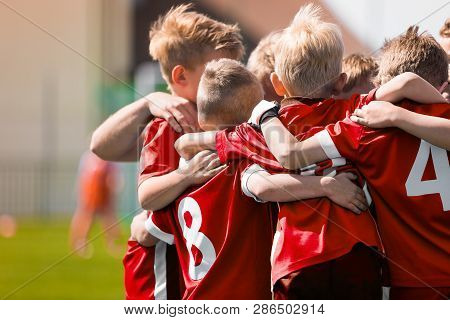 Kids Play Sports Game. Children Sporty Team United Ready To Play Game. Children Team Sport. Youth Sp