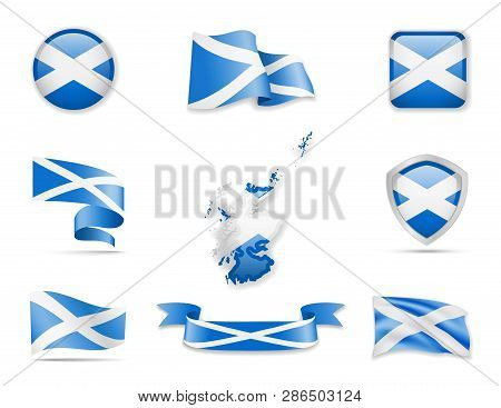 Scotland Flags Collection. Vector Illustration Set Flags And Outline Of The Country.