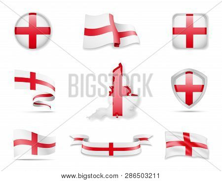 England Flags Collection. Vector Illustration Set Flags And Outline Of The Country.