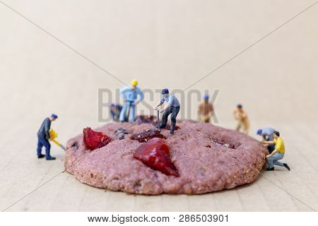 Miniature People : Construction Workers On Strawberry Gaba Riceberry Cookies