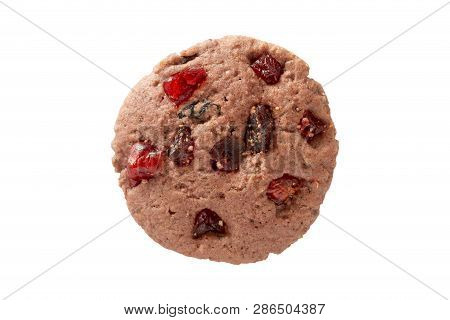 Strawberry Gaba Riceberry Cookies Isolated On White Background With Clipping Path