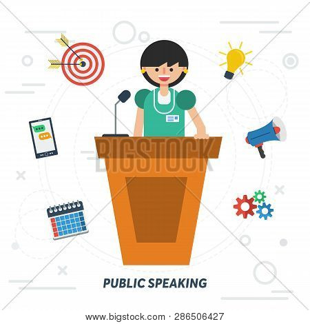 Vector Concept Public Speaking Woman. Lady Orator Speaking From Tribune With Web Elements On Backgro