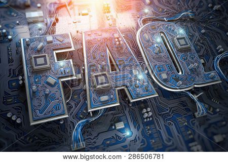 FAQ Frequently asked questions concept. FAQ in form of circuit board on computer motherboard. 3d illustration