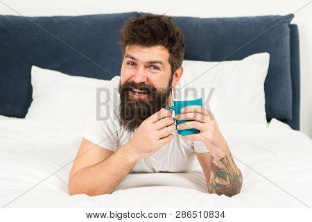 Happy Man Enjoy Morning Coffee. Fresh Coffee. Happy Morning. Bearded Man Drink Morning Coffee. Happy