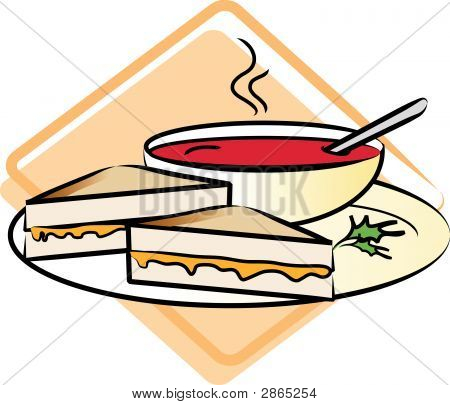 Food: Grilled Cheese Sandwich And Tomato Soup