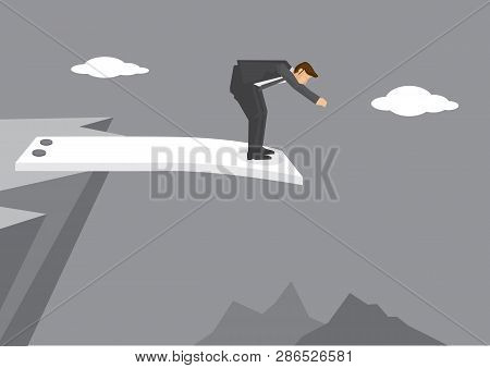 Cartoon Man Getting Ready To Jump From Spring Board At The Edge Of Mountain Cliff. Creative Vector I