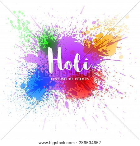 Happy Holi Vector Decoration Element For Your Festive Design. Happy Holi Template. Isolated On White