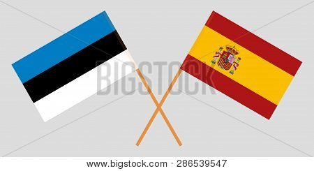 Spain And Estonia. The Spanish And Estonian Flags. Official Colors. Correct Proportion. Vector Illus