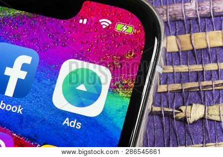 Helsinki, Finland, February 17, 2019: Facebook Ads Application Icon On Apple Iphone X Screen Close-u