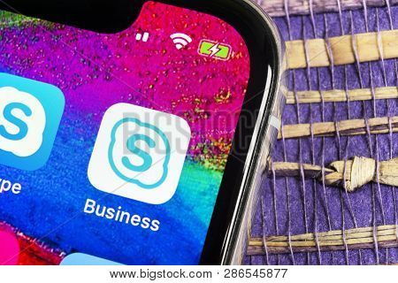 Helsinki, Finland, February 17, 2019: Skype Business Application Icon On Apple Iphone X Smartphone S
