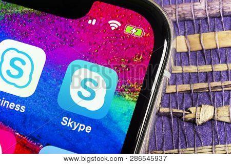 Helsinki, Finland, February 17, 2019: Skype Application Icon On Apple Iphone X Smartphone Screen Clo
