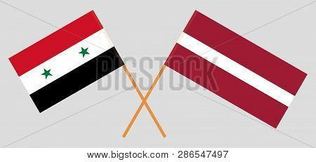 Syria And Latvia. The Syrian And Latvian Flags. Official Colors. Correct Proportion. Vector Illustra