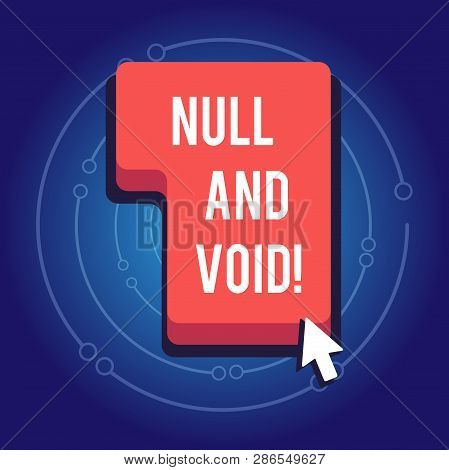 Text sign showing Null And Void. Conceptual photo Cancel a contract Having no legal force Invalid Ineffective. poster