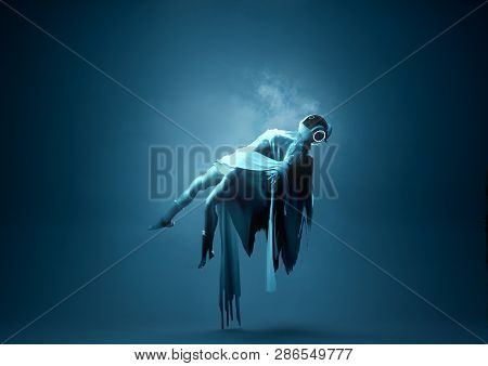Levitation Portrait. A Futuristic Space Women Portrait Floating Upwards Towards A Light. Conceptual