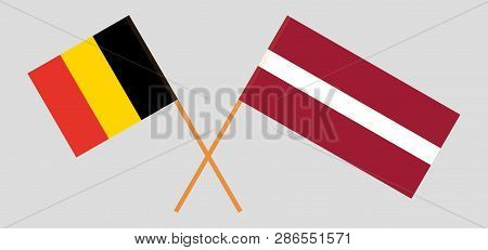 Belgium And Latvia. The  Belgian And Latvian Flags. Official Colors. Correct Proportion. Vector Illu