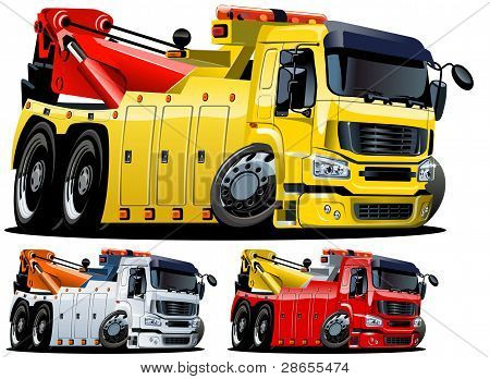 Vector cartoon tow truck. One-click repaint