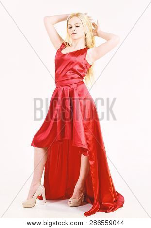 Dress Rent Service, Fashion Industry. Lady Rented Fashionable Dress For Visiting Event. Girl Blonde