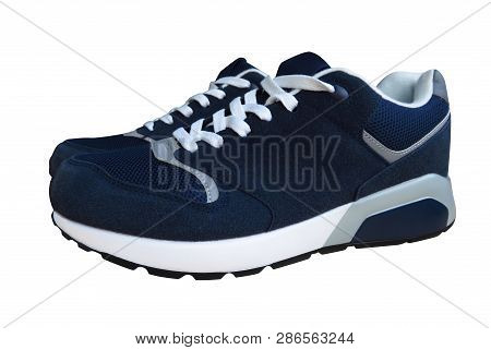Blue Sneakers Isolated On White. Clipping Path Included.