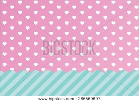 Vector Background With Hearts And Dots. Pink Background To Decorate The Maiden Party.