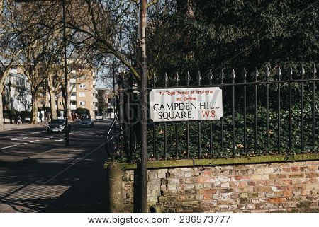 London, Uk - February 23, 2019: Campden Hill Square Street Name Sign On A Black Fence In The Royal B