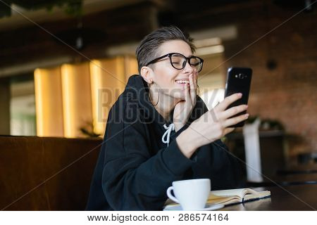 Shortcut Hipster Young Blogger Chatting With Best Friends In Social Network On Mobile Phone While Re