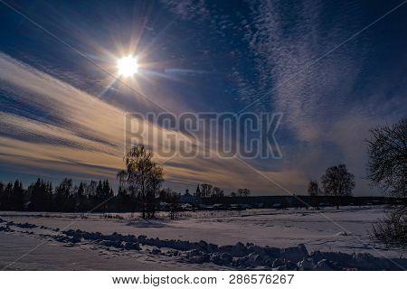 Beautiful Rural Winter Landscape With Bright Sunshine.