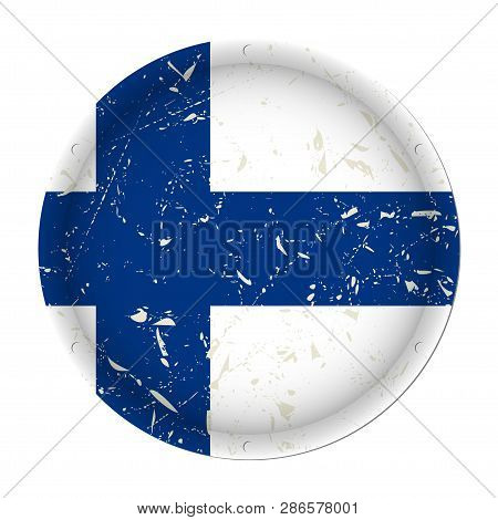Finland - Round Metallic Scratched Flag With Six Screw Holes In Front Of A White Background