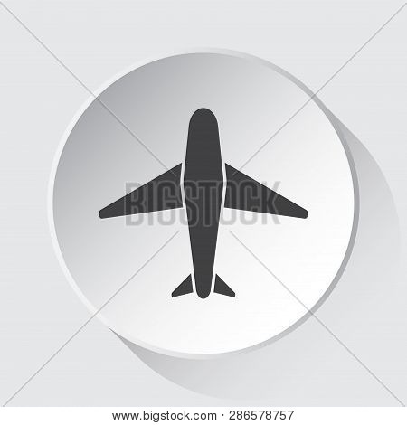 Airliner - Simple Gray Icon On White Button With Shadow In Front Of Light Gray Square Background