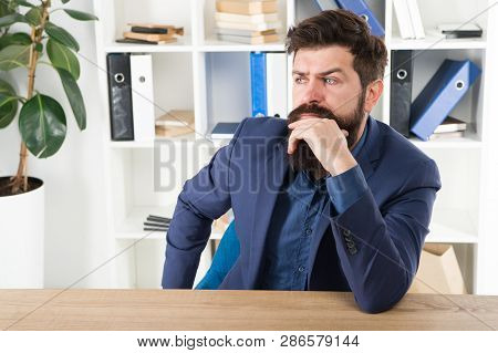 Man Bearded Businessman Thoughtful Face Solving Problem Making Decision. Mental Process Of Choosing