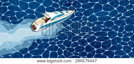 Top View Speed Boat On Water Poster. Luxury Yacht Race, Sea Regatta Poster Vector Illustration. Naut