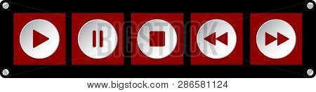 Red, White Square Music Control Buttons Set - Five Icons In Front Of A Black Background With Rounded