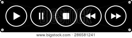 Black, White Round Music Control Buttons Set - Five Icons In Front Of A Black Background With Rounde