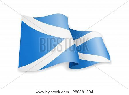Scotland Flag In The Wind. Flag On White Vector Illustration