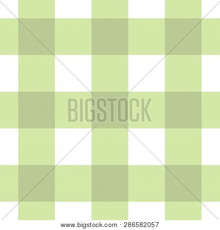 Seamless Pattern, Tablecloth - White And Pastel Dark, Bright Green Tartan