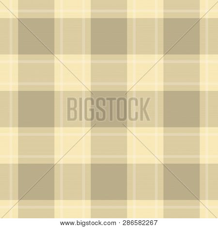Seamless Pattern, Tablecloth - Pastel Dark And Bright Beige, Yellow Tartan With White Stripes