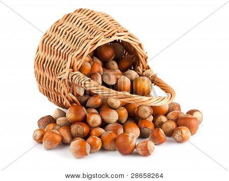 Wicker Basket And Hazelnuts