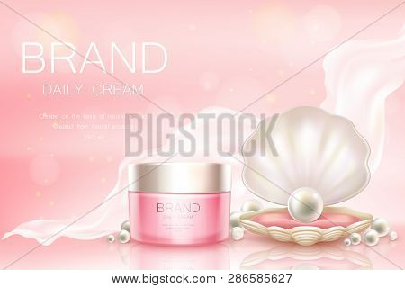 Vector 3d Realistic Advertising Mock Up - Daily Cream In Pink Jar, Cosmetics Background With Light A