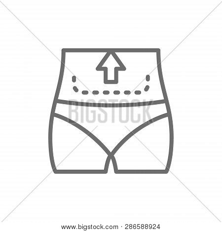 Abdominal Liposuction, Abdominoplasty, Tummy Tuck Plastic Surgery Line Icon.