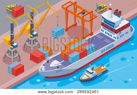 Seaport Isometric And Colored Composition With Big Sea Cargo Ship At The Seaport Vector Illustration
