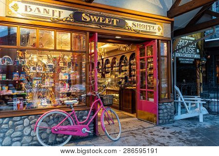 Banff, Alberta Canada - Janurary 19, 2019: Exterior View Of The Banff Sweet Shoppe, A Candy Store On