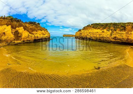 Australia. Picturesque Pacific coast - bays and rocks. Great Ocean Road along the Pacific coast. The concept of active tourism