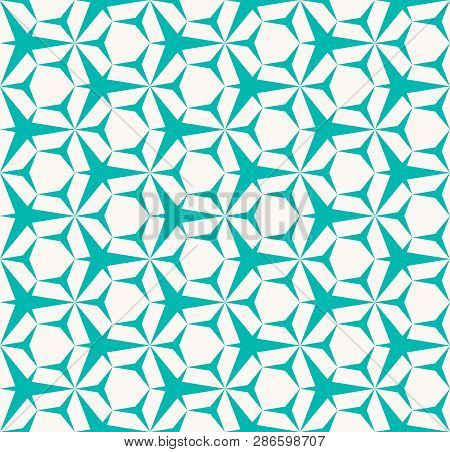 Vector Abstract Geometric Seamless Pattern. Turquoise And White Color. Simple Minimal Background Tex