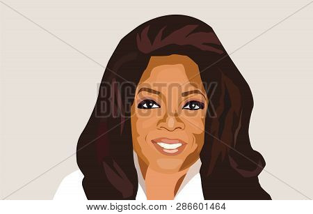 Feb, 2019: Famous Tv Host, Actress, Philanthropist Oprah Winfrey Vector Portrait