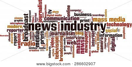 News Industry Word Cloud Concept. Vector Illustration On White