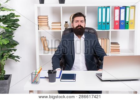 Business. Modern Businessman. Bearded Man. Mature Hipster With Beard. Male Fashion In Business Offic