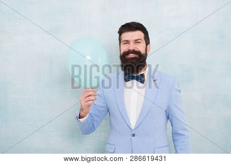Happy Bearded Man Hold Air Balloon. Just Inspired. Happiness And Success. Party Mood. Happy Birthday