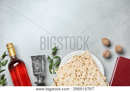 Flat Lay Composition With Symbolic Passover (pesach) Items On Light Background, Space For Text