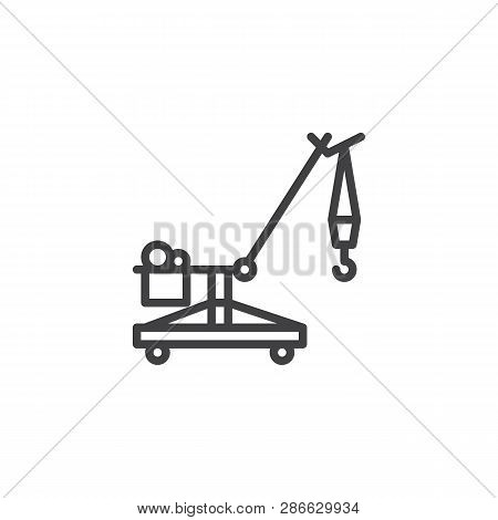 Crawler Crane line icon. linear style sign for mobile concept and web design. Lifting crane outline vector icon. Construction machine symbol, logo illustration. Pixel perfect vector graphics poster