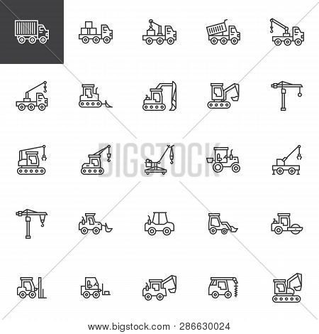 Construction Truck Line Icons Set. Linear Style Symbols Collection, Outline Signs Pack. Vector Graph